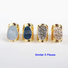 5Pcs Gold Plated Oval Titanium Natural Druzy Agate Open Band Cuff Ring GG0890
