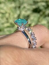 MAGNIFICENT 1CT NATURAL PARAIBA TOURMALINE ENGAGEMENT RING SIZE 6 STERLING 925