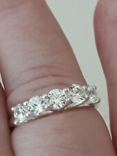 Cubic Zirconia Eternity Ring Size Q Sterling Silver Band 5 Stone Band Ring