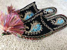Uzbek Suzani slippers, Suzani shoes, handmade, embroidery, paisley, Uzb # 6