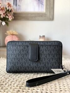 Michael Kors Jet Set Travel Medium Zip Around Phone Holder Wallet Wristlet Black