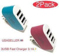 Universal 3.1A Triple USB 3 Port Wall Home Travel AC Charger Adapter US Plug.