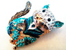 RHINESTONE CAT BROOCH!Enameled Pendant Pin.Dressed in Blue.Gold Tone Setting.