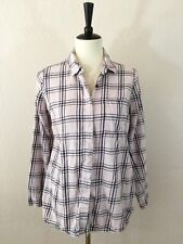Splendid for Pea in the Pod Pink & Navy Plaid 100% Cotton LS Shirt Women's S