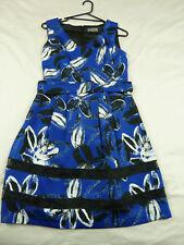 Jacqui E 12 Blue Black Floral Belted Dress