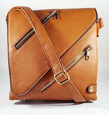 Ladies Satchel Crossbody Messenger Bag Party Fashion Faux Leather Purse Tan Zip