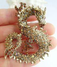 Vintage Chinese Dragon Brooch Pin Pendant Brown Rhinestone Crystal 02980C4