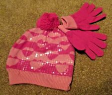Girls Pink Sequins Heart Hat and Gloves Set