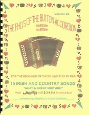 "BUTTON ACCORDION BOOK, 15 IRISH AND COUNTRY SONGS ""PLAY BY NUMBERS"""