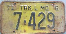 1971 MO Missouri License Plate 7-429 Trk L MO 6