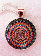 "CHAKRA ZIG ZAG PATTERN 1""glass pendant necklace handmade silver plated 20""chain"