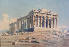 Imprs. Aquarell Gemälde Akropolis Athen Griechenland Signatur S. Kourkoulos 1943