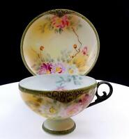 "NIPPON APPLE BLOSSOM STAMP WHITE & PINK FLORAL BEADED RIM 2 3/8"" CUP & SAUCER"