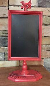 Red Metal~Countertop~Chalkboard Stand~Message Board~Bird Topper