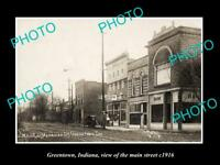 OLD LARGE HISTORIC PHOTO OF GREENTOWN INDIANA, VIEW OF THE MAIN STREET c1916