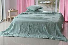 LINEN SHEET SET in a melange green Queen King Twin linen bedding set Luxury Eco