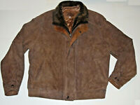 MEN'S REMY BROWN SOFT SUEDE LEATHER JACKET! MOUTON SHEARLING FUR COLLAR! USA! 42