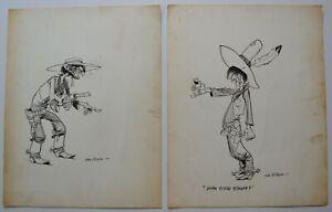 Gene Bilbrew pair original illustrations 1950s-1960s western outlaws eneG fetish