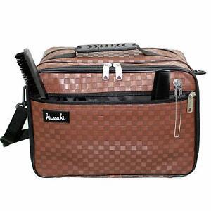 Kassaki Hairdressing Bag Barber Kit Carry Holdall Equipment Salon Storage Brown