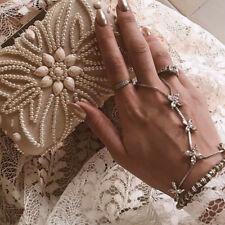 Crystal Diamante Slave Chain Finger Ring Bangle Hand Harness Bracelet Beach Boho