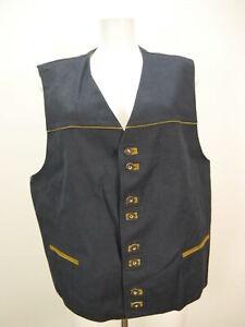 C&A Leinen Baumwolle schwarz mit Borte tolle Herren Weste Trachtenweste Gr.56