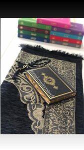 Prayer Mat Mussallah personalised Black Giftset Inc Quran And Tasbeeh
