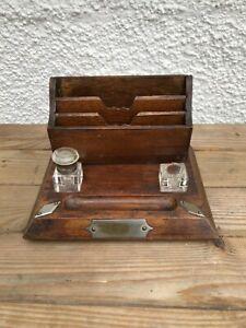 Antique Inkwells with Oak Desk Stationary stand  Penholder and Letter Rack