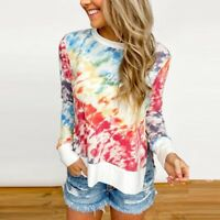 Women Tie-Dye Sweatshirts Long Sleeve Crewneck Casual Pullover Shirts Blouse AU