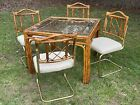 Mid Century Chinoiserie Faux Tortoise Shell Rattan Bamboo Table Chair Set