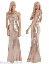 Goddiva Sequin Open Back Maxi Evening Full Length Dress Bridesmaid Prom Wedding