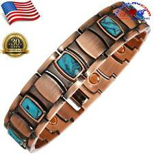 MEN CHAKRA TURQUOISE GEMSTONE VTG FINISH ARTHRITIS COPPER MAGNETIC BRACELET X11C