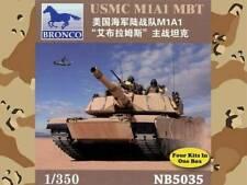 1/350 Bronco USMC M1A1 MBT Abrams Plastic Model Kit (4 kits per box)