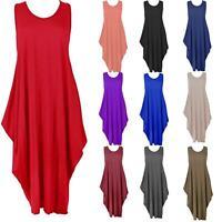 New Ladies Sleeveless Italian Lagenlook Tulip Parachute Summer Midi Dress Top