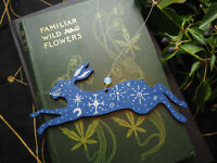 Blue Star & Moon Hare Ornament - Pagan, Wicca, Witchcraft, Rabbit, Hand-Painted