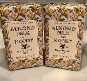 2 Crabtree & Evelyn ALMOND MILK AND HONEY Triple Milled Bar Soap 5.57 oz ~ SET/2