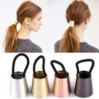 Chic Woman Girls Metal Elastic Ponytail Holder Hair Cuff Wrap Tie Band Ring Rope