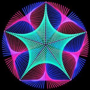 Stringart UV Deko - Goa Psy Trance Party - Schwarzlicht Fadenkunst - Kreis D4A