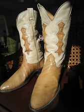 Beautiful !! Vintage NOCONA EEL SKIN Cowboy Boots !! Cutout Inlays! sz 9D Men