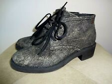 CHANEL Grey Black Suede/Robber Lace Up Ankle Boots 39 Serial# IG 31970