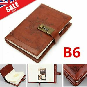Journal Notebook Refillable Notepad Diary Vintage PU Leather Travel Brown +Lock