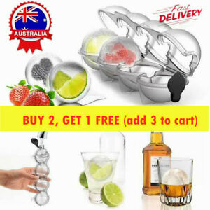4 Large Ice Ball Maker Cube Tray Big Silicone Mold Sphere Whiskey Round Mould AU