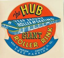1950's - 60's The Hub Giant Rink Chicago Illinois Roller Skating Label Vintage