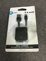 ONN 2.4 amp Wall Charger with Micro USB Sync & Charge Cable, Black M48B