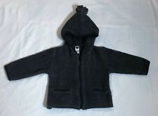 Baby Gap Dark Gray Fleece Coat Jacket Hood Infant Boy Girl Size 6-12 Months EUC