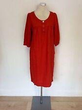 VIYELLA RED LINEN SHIFT DRESS SIZE 12