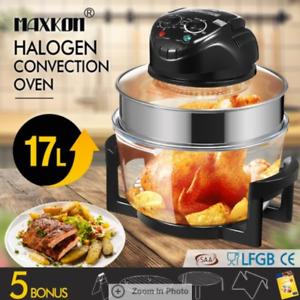 17L Halogen Oven Turbo Convection Cooker Electric Air Fryer Black 6kg 1200-1400W