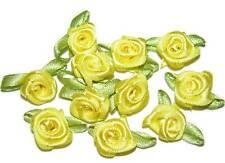 100 rose flower ribbon satin appliques trim lot yellow