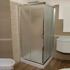 Box doccia 80x100 angolare scorrevole a due lati in vetro cristallo 6 mm opaco