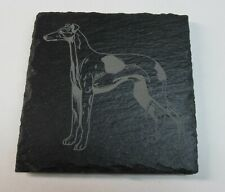 """Slate Greyhound or Whippet Coaster, 4"""" x 4"""", Natural Slate, Laser Etched"""