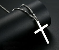 """Mens' Women's Polished Crucifix Cross Pendant 18"""" Necklace 925 Sterling silver"""